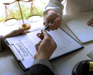 Judge or lawyer send pen to team or client about consult law detail and prepare to sign contract agreement, law firm concept.